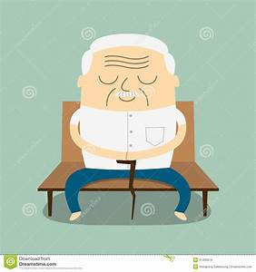 Cartoon Old Man Sitting On Bench Stock Images Image