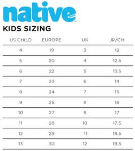 Toddler Shoe Size Chart Kids
