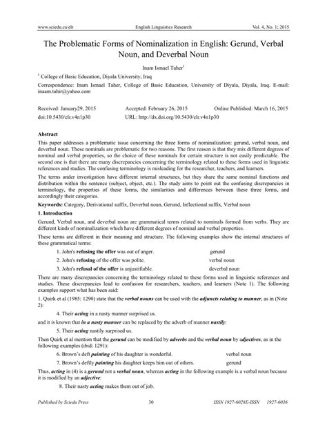 pdf the problematic forms of nominalization in english gerund verbal noun and deverbal noun
