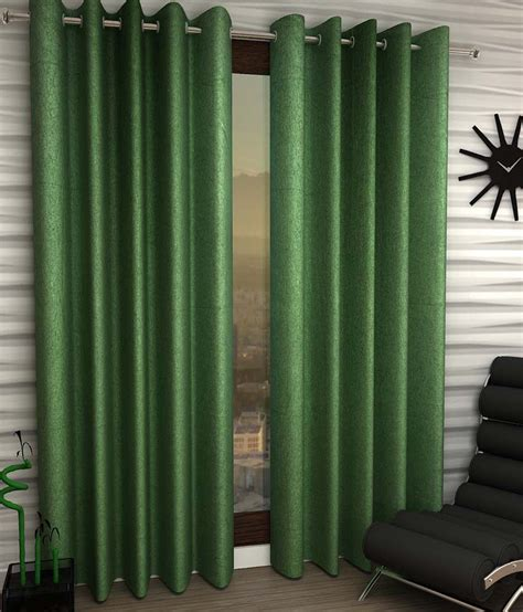 home sizzler green plain polyester window curtain set of 4