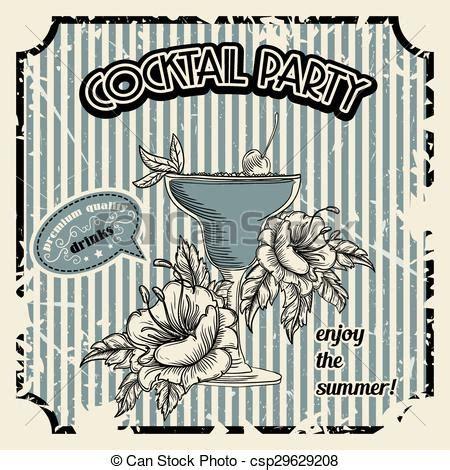 vintage cocktail party clipart vintage quot cocktail party quot poster with cocktail tropic