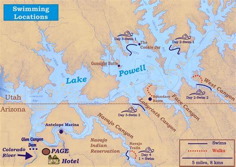 adventure swimming vacation  lake powell arizona usa