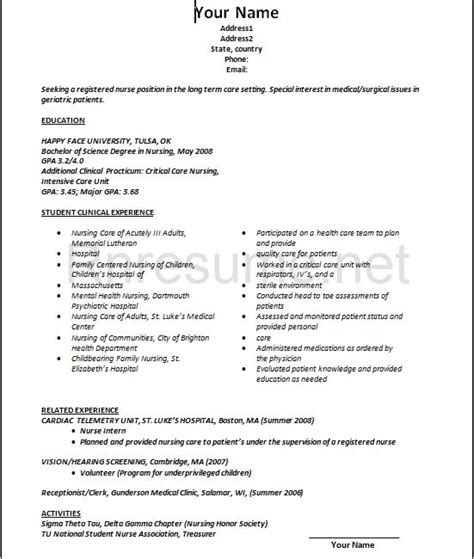 New Grad Rn Resume Exles by 10 New Grad Nursing Resume Sle Slebusinessresume
