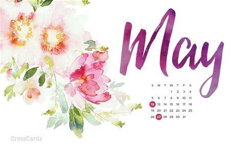 Watercolor Flowers Desktop Calendar- Free May