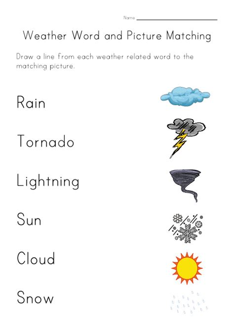 weather worksheet matching worksheets