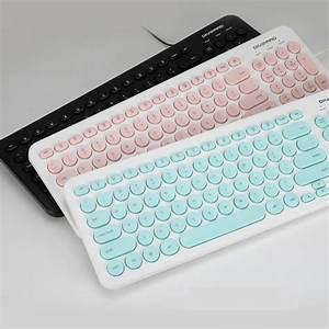 Pink, Cute, Keyboard, Mini, Retro, Keyboard, 96, Keys, Usb, Wired, Round, Keycap, For, Computer