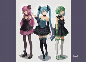Hatsune, Miku, Megurine, Luka, And, Gumi, Vocaloid, Drawn, By, Fkey