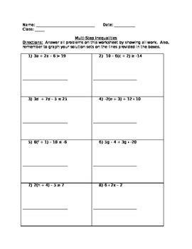 grade math multi step inequalities worksheet   anne