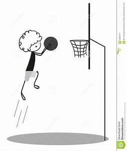 Doodle Little Boy Playing Basketball Stock Vector - Image ...