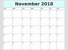November 2018 Free Calendar