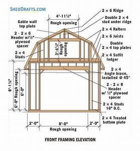 12 U00d712 Gambrel Barn Shed Plans Blueprints For Assembling