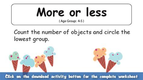 More Or Less Worksheet (for Kids) Mocomi