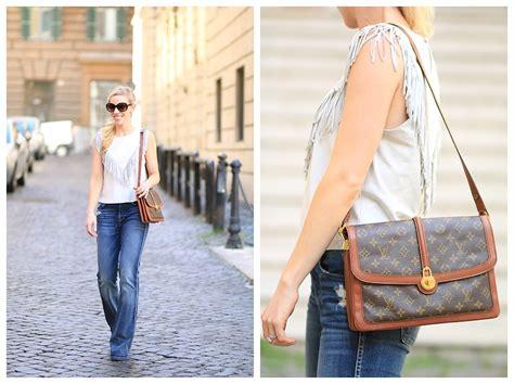 peace love louis vuitton fringe top flare denim vintage bag meagans moda