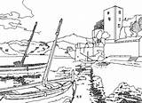 Coloring Port Seaside Colouring Printable Drawings Ships Boats Country sketch template