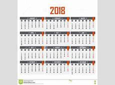 Calendário Para 2018 Começos Da Semana Em Segundafeira