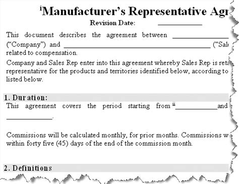 Manufacturers Rep Agreement Template by Free Program Manufacturing Contract Template Free