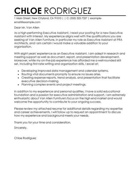 Cover Letter For Executive Assistant by Best Executive Assistant Cover Letter Exles