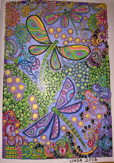 CREATIVE HAVEN Entangled Dragonflies colored by Linda