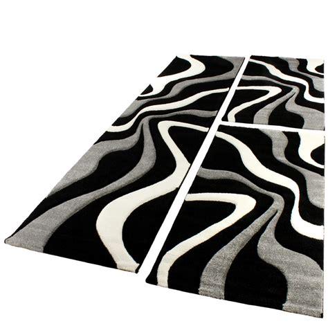 teppich schwarz weiss modern bettumrandung l 228 ufer teppich trendig modern grau schwarz weiss l 228 uferset 3tlg wohn und