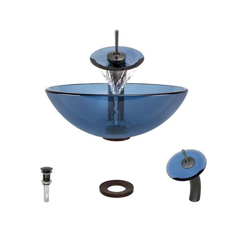 glass vessel sink with waterfall faucet mr direct glass vessel sink in aqua with waterfall faucet