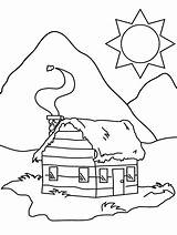 Cabin Coloring Pages Log Colouring sketch template