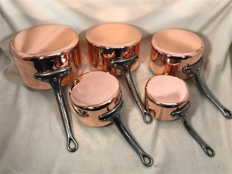 set   hammered french copper tin lined sauce pans marked dehillerin rocky mountain retinning