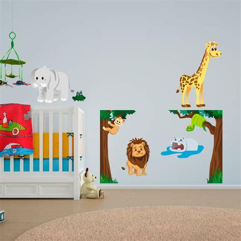 stickers muraux animaux de la jungle sticker la grenouille parmis les animaux de la jungle stickers animaux animaux de la jungle
