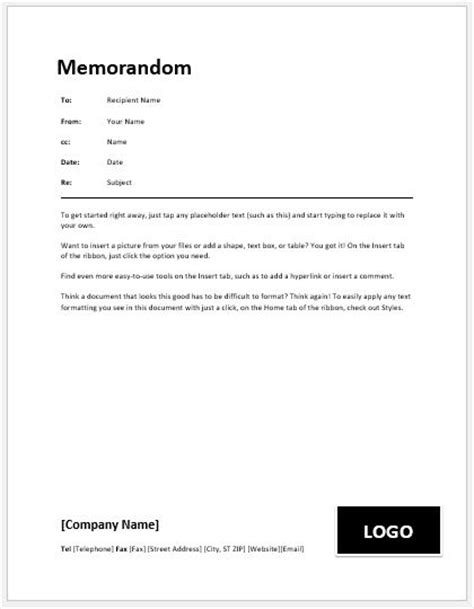 business memo templates  ms word word excel templates
