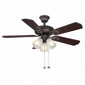 Hampton bay glendale in indoor oil rubbed bronze ceiling fan with light kit am orb the