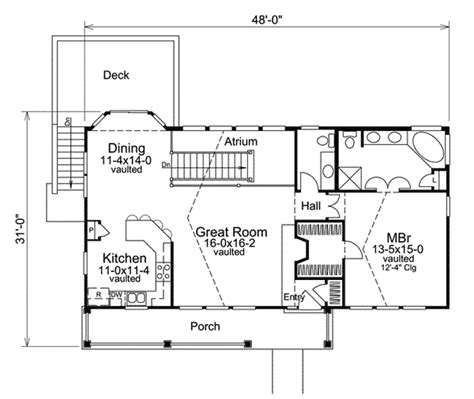 economical atrium ranch home plan ha st floor master suite media game home theater