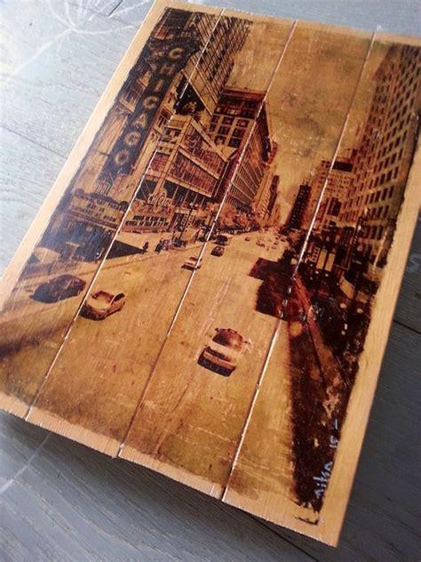 photo  wood slats image transfer  wood chicago street