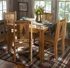 barn wood table chairs w carved trees 5 pcs With barnwood kitchen table and chairs