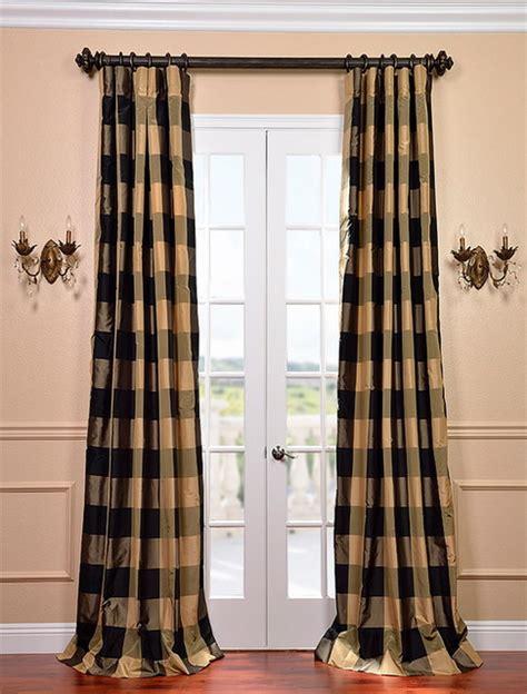 Silk Plaid Drapes - eastwood silk taffeta plaid curtain contemporary