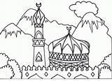 Coloring Mewarnai Gambar Masjid Mosque Islamic Arabic Islam Colouring Muslim Alphabet Colorare Moschea Dan Children Ramadan Islami Suasana Pemandangan Sawah sketch template