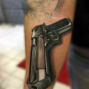 80 Pistol Tattoos For Men - Manly Sidearm Designs