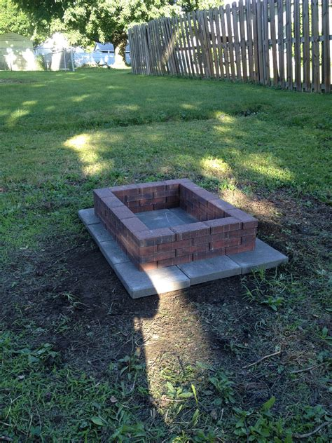 diy brick fire pit under 50 from 12x12 gray cement