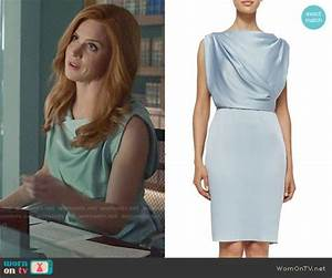 Donnas Blue Draped Dress On Suits Outfit Details Http