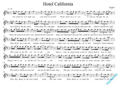 Sheet Notes & Chords  Hotel California  Eaglas  Vn Guitar Kết Nối Cộng đồng Yêu Nhạc