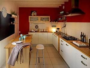 Quelle Couleur De Mur Avec Des Meubles En Chene : couleur cuisine peinture rouge panneau noir tollens ~ Nature-et-papiers.com Idées de Décoration
