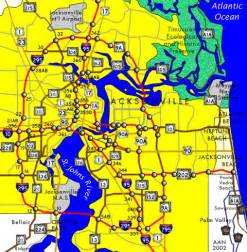 Interstates Map of Jacksonville FL