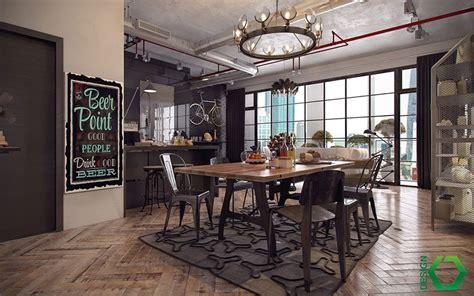 arredare una sala da pranzo  stile industriale