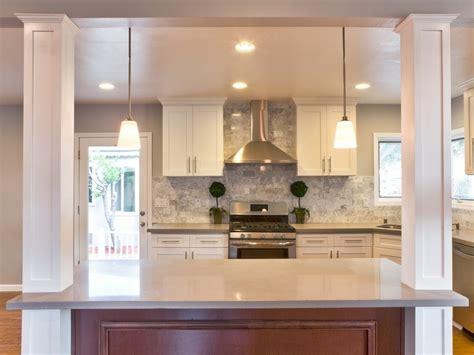 Contemporary Kitchen with Hardwood floors, Columns