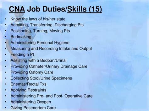 cna duties certified nursing assistant
