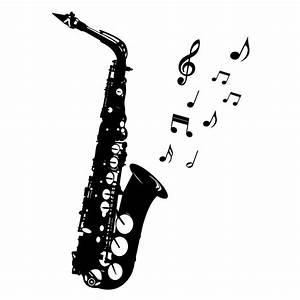 Saxophon mit Noten Wandtattoo