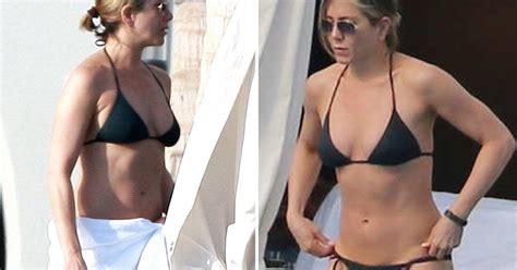 rene russo en bikini jennifer aniston stuns in sexy black bikini with courteney