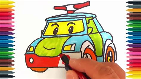 drawing car   draw police car picture coloring book