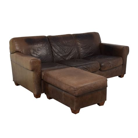 Distressed Leather Couches by 87 Distressed Leather Sofa With Ottoman Sofas