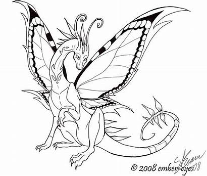 Dragon Butterfly Line Coloring Eyes Ember Deviantart