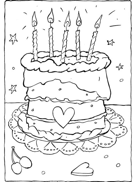 Verjaardagstaart Kleurplaat Printen by Kleurplaat Verjaardagstaart Kleurplaten Nl