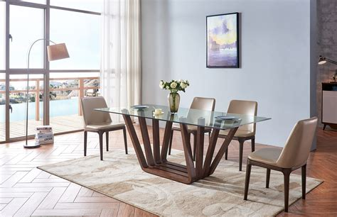 glass wood walnut finish dining collection  esf